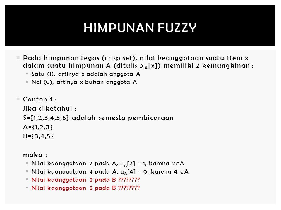Himpunan Fuzzy Pada himpunan tegas (crisp set), nilai keanggotaan suatu item x dalam suatu himpunan A (ditulis A[x]) memiliki 2 kemungkinan :